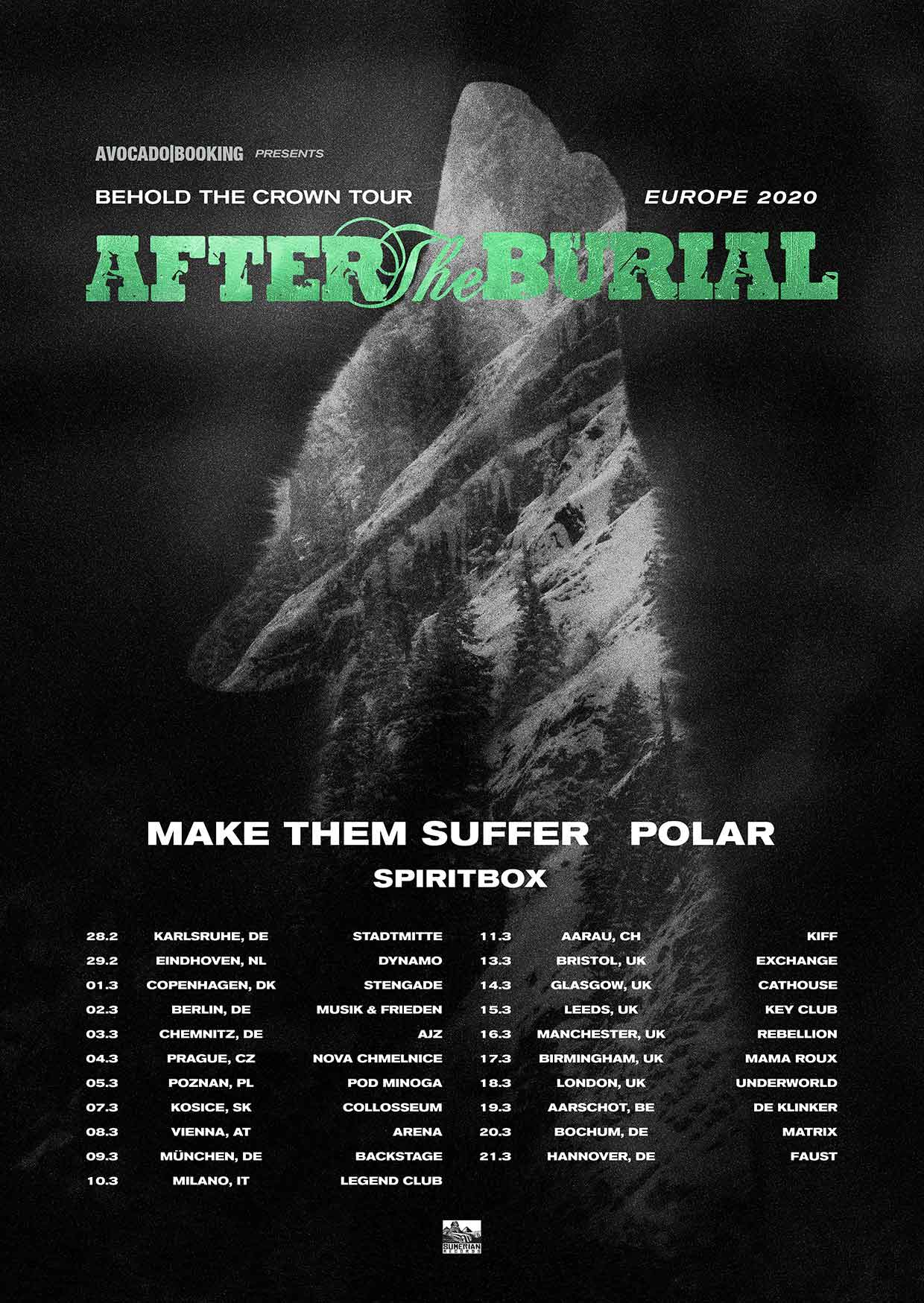 After the Burial - EU/UK Tour 2020 Tourposter